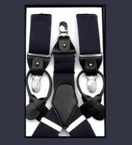 Antonia Convertible Button & Clip Stretch Braces - Suspenders - Navy