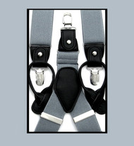 Antonia Convertible Button & Clip Stretch Braces - Suspenders - Silver