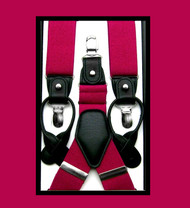 Convertible Button & Clip Stretch Braces - Suspenders - Fuchsia Pink