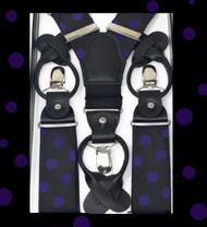 Antonia Button & Clip Stretch Suspenders - Purple Polka Dots on Black