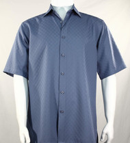 Bassiri Diamond Square Weave Short Sleeve Camp Shirt - Blue