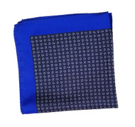 100% Silk Pocket Square - Navy & Royal Blue Petite Paisleys 12.5 x 12.5