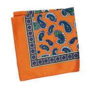 100% Silk Pocket Square - Orange with Blue & Green Paisleys 12.5 x 12.5