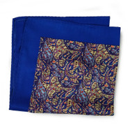 100% Silk Pocket Square - Royal Blue & Gold Paisley Design 12.5in x 12.5in