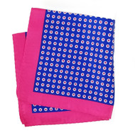 100% Silk Pocket Square - Royal Blue & Hot Pink Polka Dot 12.5in x 12.5in