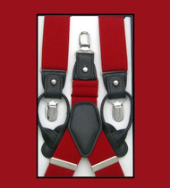 Convertible Button & Clip Stretch Braces - Suspenders - Red