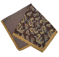 100% Silk Pocket Square -Brown Paisley & Dot Design 12.5 x 12.5