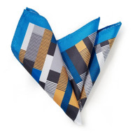 Silk Blend Pocket Square - Geometric Blue & Tan Design 11.5in
