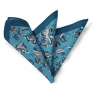 Silk Blend Pocket Square - Jade Blue Floral Design 11.5in