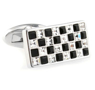 Black & Diamond-Colored Swarovski Crystal Cufflinks (V-CF-40304)