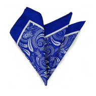 100% Silk Pocket Square - Royal Blue Baroque Design 12.5 x 12.5