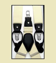 Convertible Button & Clip Stretch Braces - Suspenders - Buttercream