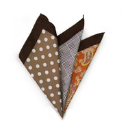 100% Silk Pocket Square Tan Polka Dots with Orange Paisleys 12.5in
