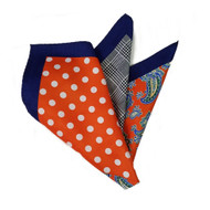 100% Silk Pocket Square - Orange Paisley & Orange Dot Design 12.5 x 12.5