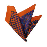 100% Silk Pocket Square - Orange & Purple Paisley Design 12.5 x 12.5