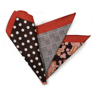 100% Silk Pocket Square Brown Polka Dots with Copper Paisleys 12.5in