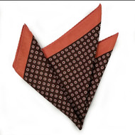 100% Silk Pocket Square - Peach & Brown Polka Dot 12.5in x 12.5in