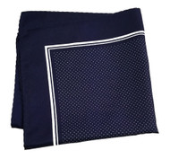 100% Silk Pocket Square - Navy Blue & White Tiny Polka Dots 12.5in x 12.5in