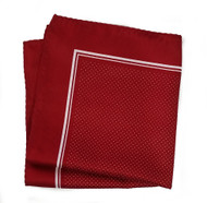 100% Silk Pocket Square - Dark Red & White Tiny Polka Dots 12.5in x 12.5in