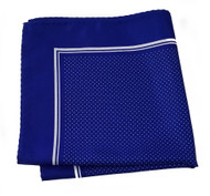 100% Silk Pocket Square - Royal Blue & White Tiny Polka Dots 12.5in x 12.5in