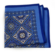 100% Silk Pocket Square - Baby Blue & Gold Medallions 12.5in x 12.5in