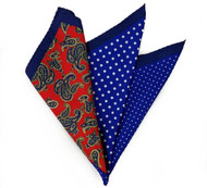 100% Silk Pocket Square -Red Paisley & Royal Blue Dot Design 12.5 x 12.5