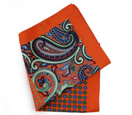 100% Silk Pocket Square - Orange & Green Paisley Design 12.5 x 12.5