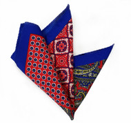 NEW - 100% Silk Pocket Square - Red Paisley & Royal Blue Medallions 12.5 x 12.5