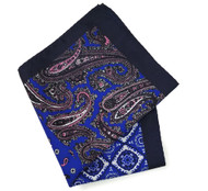 100% Silk Pocket Square - Navy & Pink Paisley & Royal Blue Medallion Design 12.5 x 12.5