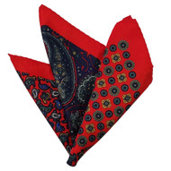 100% Silk Pocket Square - Navy & Red Paisley & Medallion Design 12.5 x 12.5