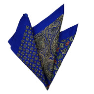 100% Silk Pocket Square - Royal Blue & Gold Paisleys & Medallions 12.5in x 12.5in