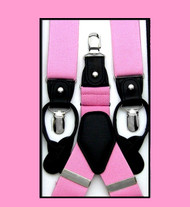 Convertible Button & Clip Stretch Braces - Suspenders - Pink