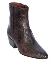 Los Altos Genuine Ostrich Leg Charro Heel Ankle Boot - Brown