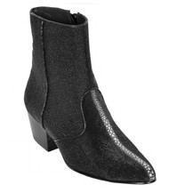 Los Altos Genuine Stingray Charro Heel Ankle Boot - Black