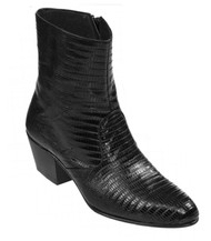 Los Altos Genuine Teju Lizard Charro Heel Ankle Boot - Black