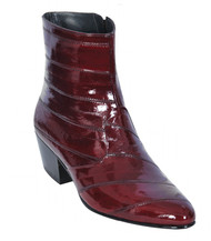 Los Altos Genuine Eel Charro Heel Ankle Boot - Burgundy