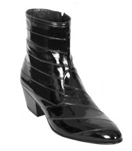 Los Altos Genuine Eel Charro Heel Ankle Boot - Black