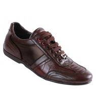 Los Altos Genuine Ostrich Leg & Leather Brown Sneaker