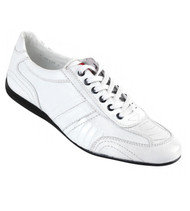 Los Altos Genuine Ostrich Leg & Leather White Sneaker