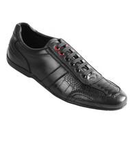 Los Altos Genuine Ostrich Leg & Leather Black Sneaker