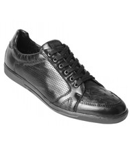 Los Altos Genuine Ostrich Quill Black Sneaker
