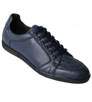 Los Altos Genuine Ostrich Quill Navy Blue Sneaker
