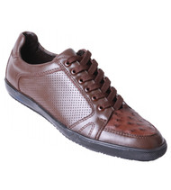 Los Altos Genuine Ostrich Quill Brown Sneaker