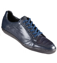 Los Altos Genuine Caiman Croc Belly Navy Blue Sneaker