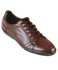 Los Altos Genuine Caiman Croc Belly Brown Sneaker