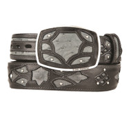 King Exotic Genuine Ostrich Quill Cut-Out Design Western Belt - Faded Grey