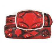 King Exotic Genuine Python Cut-Out Design Western Belt - Red