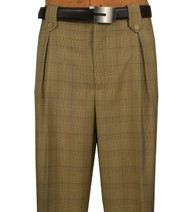 Veronesi 100% Wool Wide-Legged Slacks - Tan Plaid