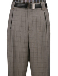 Veronesi 100% Wool Wide-Legged Slacks - Light Taupe Plaid