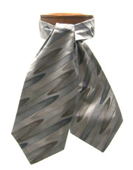 Antonio Ricci 100% Silk Ascot - Taupe Wave Design